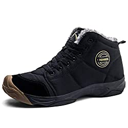 Axcone Winterschuhe Damen Herren Warm Gefüttert wasserdicht Winterschuhe Winter Outdoor Boots Wanderstiefel Stiefel Unisex - Schwarz 43EU
