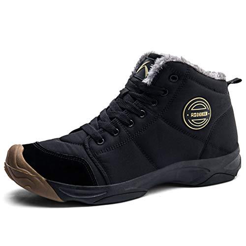 Axcone Winterschuhe Damen Herren Warm Gefüttert wasserdicht Winterschuhe Winter Outdoor Boots Wanderstiefel Stiefel Unisex - Schwarz 45EU