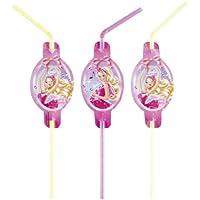Amscan–552389–8Flexible Trinkhalme Barbie chausseurs–Rosa -