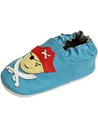 """Scarpine in pelle pantofole scarpe neonato con suola in gomma gr.19-31 lappa.de """" pirata blu """" art.15g"""