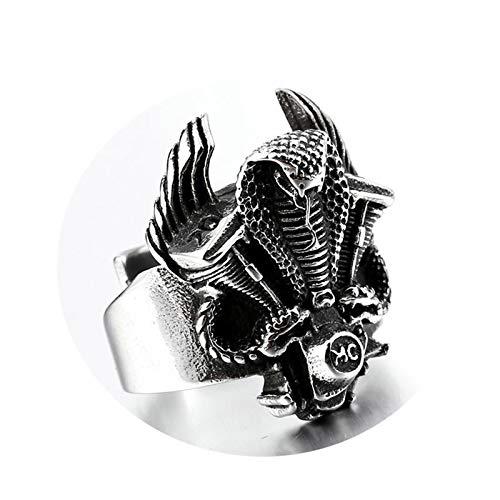 Amody Anillo gótico Serpiente de Cobra Retro Plata Anillo de Acero Inoxidable para Hombre Tamaño 22