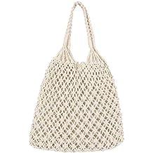 LIOOBO Bolso de Mano de Punto de Crochet, Bolso de Hombro, Bolsa de Playa
