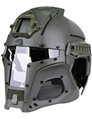 GreSky Vintage Medieval Iron Warrior Helmet Tactical Outdoor Retro Casco Edizione a Tinta Unita per Unisex con Circonferenza della Testa di 54-64 cm (Verde)