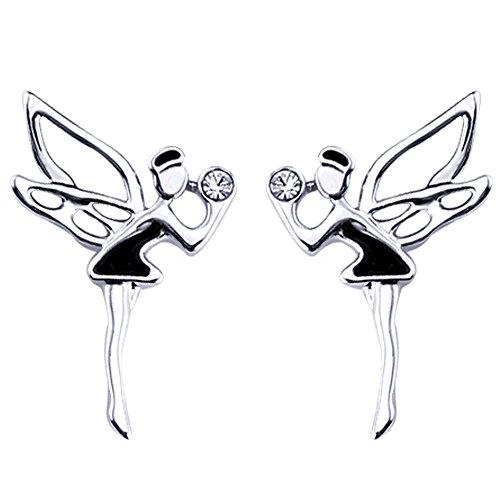 FANSING Schmuck Schwarz Lackfarbe Engel Fee Wächter Ohrstecker Ohrringe für Damen Mädchen (Fee Flügel Großhandel)