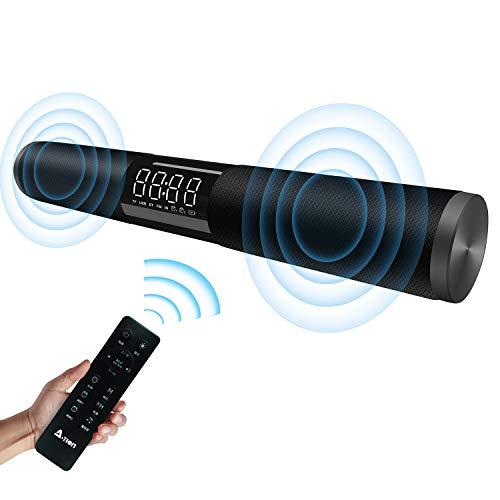 Soundbar Bluetooth Lautsprecher A-TION Verkabelt & Kabellos Heimkino Bluetooth 4.2 Lautsprecher System mit Anzeige Bildschirm & Zeit Wecker, 20W HDMI Surround Sound USB Powered Subwoofer für TV (Bluetooth-lautsprecher-system Powered)