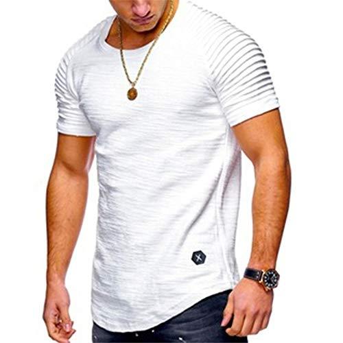 T-Shirt Herren Kurzarm Rundkragen 3D gedruckt Sommer Herren Persönlichkeit Tops,Herren Rundhals T-Shirt Plissee Raglan Ärmel Weiß M (Salz Des Lebens T-shirt)