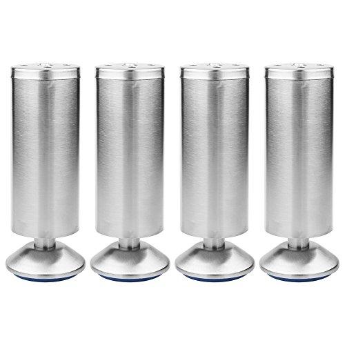Haofy Gambe del Governo in acciaio inox regolabili in altezza Gambe da cucina Piano di lavoro/Unità / Bar da colazione/Gambe del tavolo da scrivania Gambe mobili (confezione da 4)(50 * 150MM)