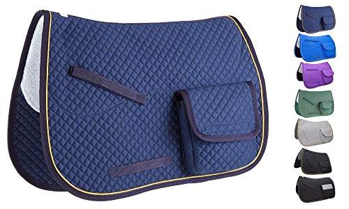 """Derby Originals Dressur- / Australische Schabracke mit Taschen und halber Fleecefutter, Marineblau, 25"""" x 22"""""""