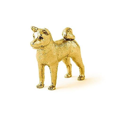 Akita Inu Hergestellt in U.K. Kunstvolle Hunde- Figur Sammlung (22 Karat Vergoldung / gold (Akita Inu Hund)