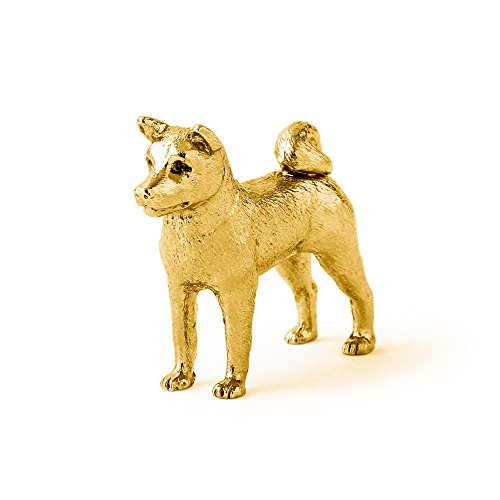Akita Inu Hergestellt in U.K. Kunstvolle Hunde- Figur Sammlung (22 Karat Vergoldung / gold - Akita-statue