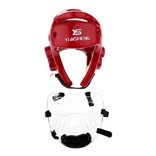 MagiDeal Boxhelm mit Nasenschutz Kopfschutz Gesichtsmaske Schutzhelm für Boxen Kampfsport Boxtraining Kickboxen - Rot, L