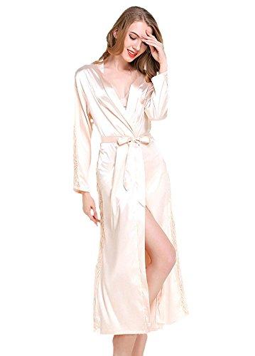 ECHERY Womens V-Neck Kimono Roben Satin Nachthemd Pure Colour langen Stil mit Spitze Trim Sleeve (Satin-robe Charmeuse)
