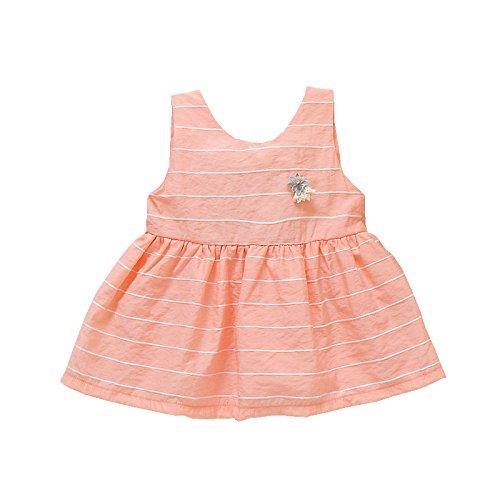 XM Sommermädchenkleid-Baby Sleeveless Kinderkleidungskindbaumwollprinzessin,Rosa,100 cm -