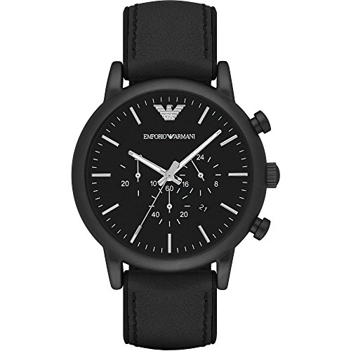 Emporio Armani Men's Watch Analogue Quartz Leather Black AR1970
