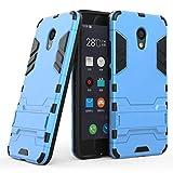 tinyue® Handyhülle für Meizu M5C, Hülle 2 in 1 Material Harte Schwer doppelte kratzfester Handyfall im Freienhandyfall Iron Man Rüstung mit Kickstand Case, Blau