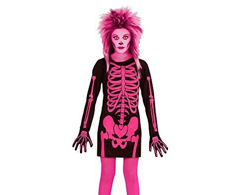 Widmann 00378 - Kinderkostüm Skelett Mädchen, Kleid, Größe 158, schwarz