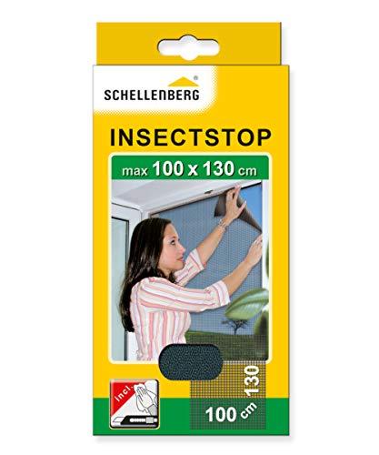 Schellenberg 50713 Fliegengitter für Fenster | zuverlässiger Schutz vor Mücken, Fliegen, Insekten & Ungeziefer | Maße: 100 x 130 cm | anthrazit | einfache Montage ohne bohren | inkl. Befestigungsband