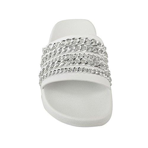 Fashion Thirsty Claquettes à Enfiler - Chaînes - Été/Plage - Femme Faux cuir blanc/chaîne argentée