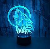Elegante Tischleuchte 3D Kleine Nachtlichter Wolf Kopf Sieben Farbe USB Touch Fernbedienung Schalter Licht Illusion Tischlampe Dekoration Geburtstag Umwelt Tischlampe
