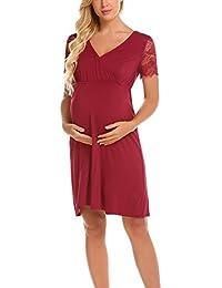 UNibelle Damen Umstandskleid Spitzenkleid Schwangerschafts Kleid  V-Ausschnitt Mit Kurzarm 1c615ace02