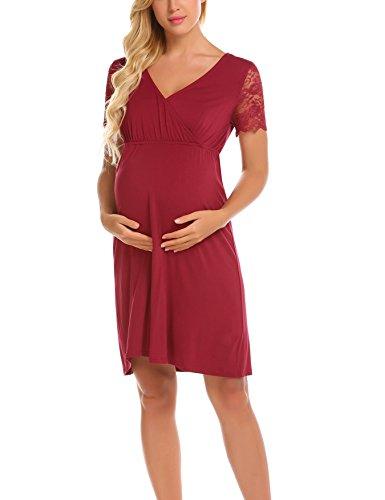 78d5ad3e62af UNibelle Vestito da maternità Donna Abito di maternità Abito Pizzo Abito di  Gravidanza Scollo V Maniche