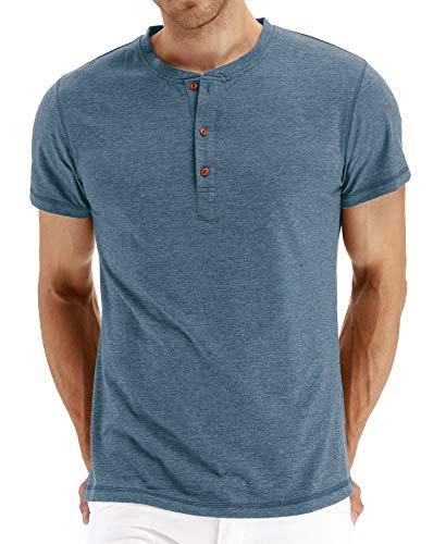 Einfarbiges Rundhals-T-Shirt für Herren mit V-AusschnittHerren Kurzarm T-Shirt Blau M