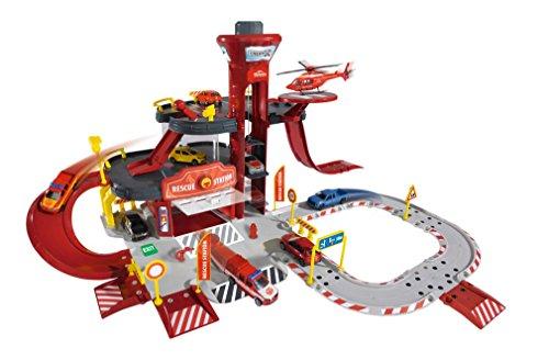 Majorette-212050015- Creatix Rescue Station Pompier, Circuit voiture miniature , 1 Hélicoptère Et 1 Voiture 0787551959291