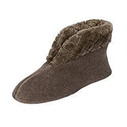 Dearfoams Velour Bootie Slipper with Quilted Pile Cuff Brown Large UK/India 7-8