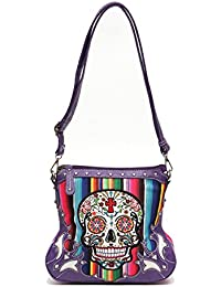 Western Handbag - Multi-Color Serape Fabric Textured Day Of The Dead Sugar Skull Concealed Carry Crossbody Bag...