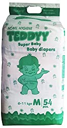 Teddyy Super Baby Medium Size Diaper (54 Count)