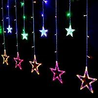 SALCAR Cadena de Luces LED de Colores 2 * 1 Metros, Cortina 12 Estrellas de Colores para Navidad, Decoracion de Fiestas, Celebraciones (RGB)