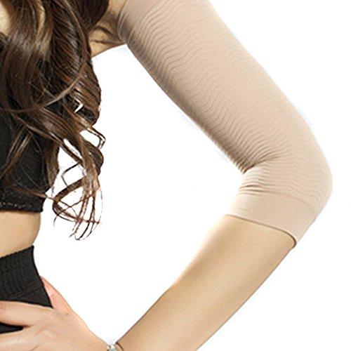 QianSheng Paar von Fest Kompression Schlanke Arms Ärmel Cellulite Burn Fettabbau Kurzarm Oberarm Schlankere Steuerung Shaper Shapewear zum Frau Damen Mädchen - Hautfarbe