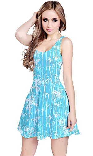 CowCow - Giapponese onde senza maniche Skater Dress Turquoise & White 3XL