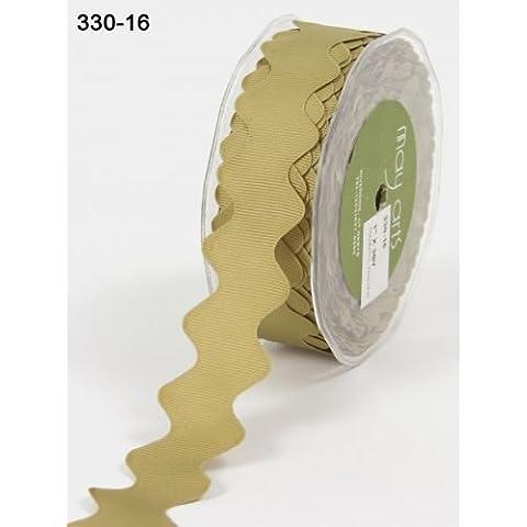 25 mm, colore: verde oliva Ric Rac-Nastro in tessuto gros