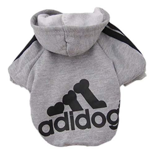 Scheppend Adidog Pet Dog Kleidung Wintermantel Jacket Cat Puppy Hoodie Pullover Baumwolle Kleidung für kleine Hunde(Grau,Gr.S)