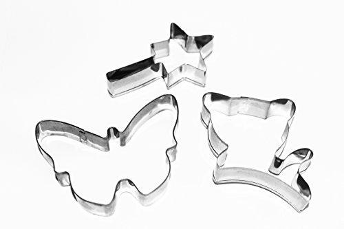 Tolma kit set di 3emporte-pièce/stampo/cookie cutter/gatto/bacchetta magica fata principessa/farfalla/pasticceria, sabbiato, torta, gouter a tema, sandwich