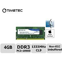 Timetec® squadra 4GB DDR3 (PC3-10600) 1333MHz non ECC, senza buffer, CL9, 1Rx8, 1.5V, SODIMM, modulo (Samsung Buffered Memoria)