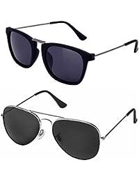 ca531d5f22810 Silver Kartz Luxury Aviator and Wayfarer Rectangular Unisex Sunglasses  Combo (Silver Kartz .05