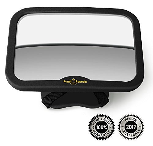 ROYAL RASCALS Baby Car Mirror | Rear view mirror for rearward facing child seat | BLACK | Fits any adjustable headrest | Tilt and turn function | 100% shatterproof | PREMIUM SAFETY PRODUCT