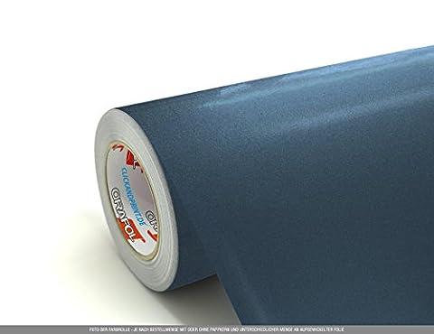 CLICKANDPRINT 1m Klebefolie, 126cm breit, Blaugrau Metallic » Stoßstangenaufkleber / Stoßfängeraufkleber