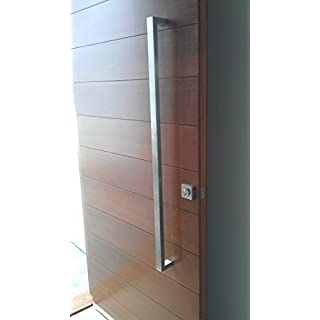 166 Rectangular-shaped Modern Stainless Steel Sus304 Entrance Entry Commercial Office Store Front Timber Wood Glass Door Pull Push Handles Double-sided (36 Inches / 900x25x38 mm, Brushed 304 Grade)