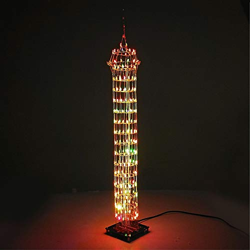 ROUHO DIY Macao Tower Led Light Cube Wireless Remote Control Music Spectrum Electronic Kit -