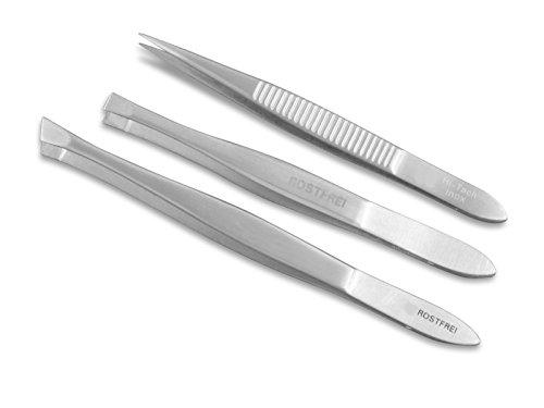 Haar-Zupf-Pinzette Set Gerade Schräg Spitz Premium aus Edelstahl Haarentfernung Augenbrauenpinzette