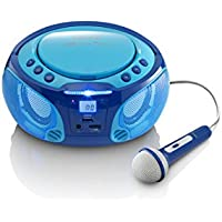 Lenco Kinder CD-Player SCD-650 mit Mikrofon, Karaoke-Funktion und Lichteffekten (CD / MP3, USB, AUX, LCD-Display, UKW Radio), blau