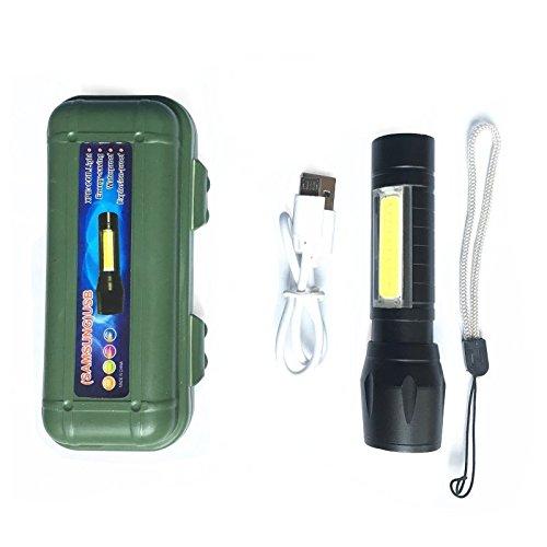 SODIAL Lumiere multifonctionnelle de travail de T6 + COB Lumiere d'inspection Lumiere d'urgence LED Focus USB Lampe de poche exterieure