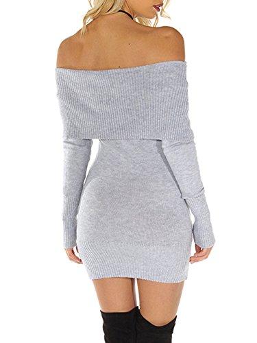 Simplee Apparel Damen Winter Langarm Elegant Slash Neck Strick Sweater Kleid Schwarz Weiß Grau