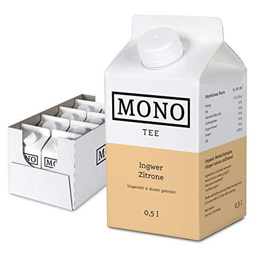 Mono Tee - Zuckerfreier Bio-Eistee Ingwer Zitrone - Ungesüßter und erfrischender Durstlöscher - Die Alternative zu Wasser im 8er Pack (8x 500ml) -