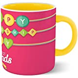 Chiraiyaa Friendship Day - Best Friends Forever BFF With Ribbon - Inner Yellow Printed With Yellow Printed Handle Ceramic Mug