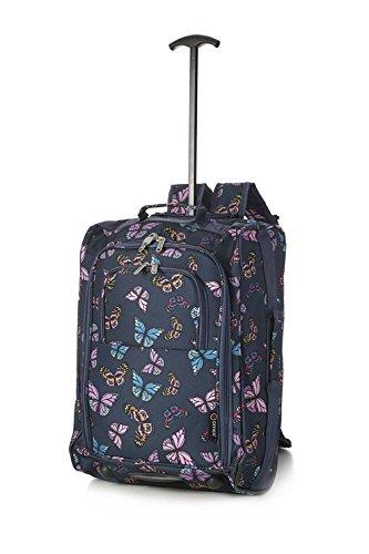 5 Cities 2er Set Ryanair Handgepäck Gepäck Rucksäcke und Tasche (Trolley + Reisetasche) Dunkelblau