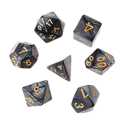 Lergo Polyhedral-Würfel Gold Zahlen für Dragon Pathfinder D20 D12 2xD10 D8 D6 D4, Schwarz